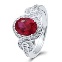 BERRICLE Rhodium Plated Sterling Silver Simulated Ruby Oval Cut Cubic Zirconia CZ Solitaire Woven Fashion Right Hand Ring