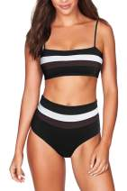 COCOLEGGINGS Women's Removable Strap Wrap Striped High Waist Bikini Set Swimsuit