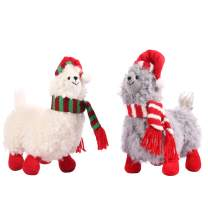 CSH Llama Stuffed Animal,Cute Llama Plush Toy,11 inches Alpaca Stuffed Animals,Llama Gifts,Alpaca Plush Wearing Winter Scarf and Christmas hat.Great Gifts for Baby Showers,Birthdays,Christmas.(2 pcs)