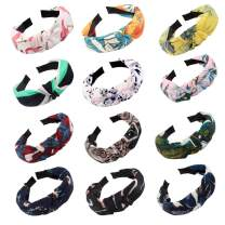 Jaciya 12 Pieces Knotted Headbands for Women Turban Headbands for Women Wide Headbands for Women Knot Headband 12 Colors