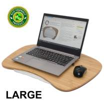 Bamboo Lap Desk for Laptop of Large Jumboo Size with Cushion and Handle, Bamboo Lapdesk Stand Tray, Lap Desk, Writing Table on Sofa, Bed Tray, Book Stand (Pezin & Hulin)