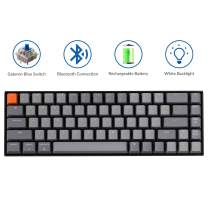 Keychron K6 Hot Swappable 65% Layout Wireless Bluetooth/Wired Mechanical Keyboard, Compact 68-Key White LED Backlight/Gateron Blue Switch/Rechargeable Battery for Mac Windows