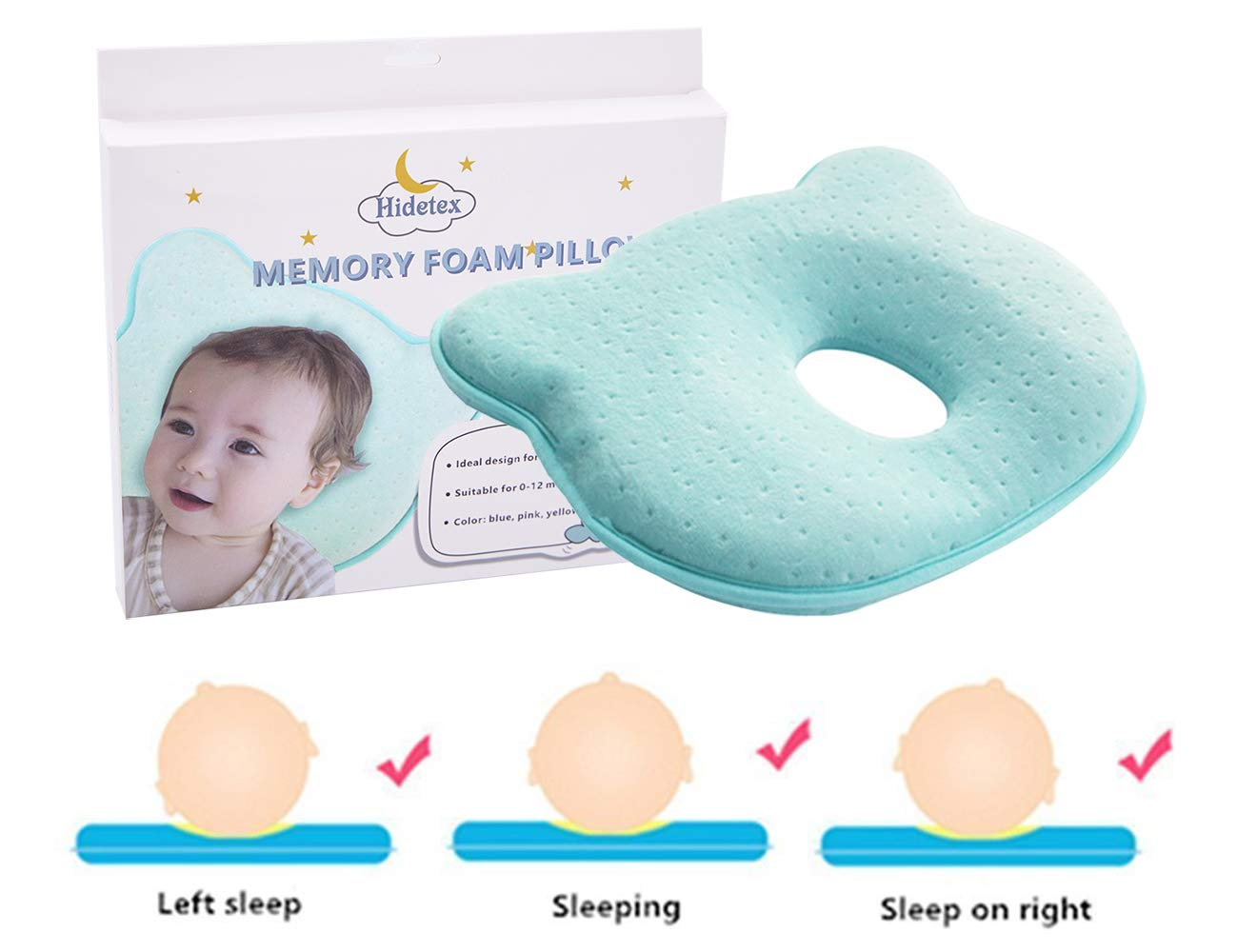 Hidetex Baby Pillow - Preventing Flat Head Syndrome (Plagiocephaly) for Your Newborn Baby,Made of Memory Foam Head- Shaping Pillow and Neck Support (0-12 Months)(Blue)