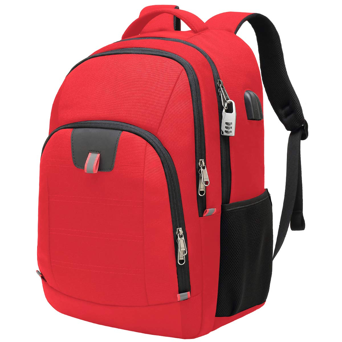 Travel Laptop Backpack,Extra Large Anti Theft College School Backpack for Men and Women with USB Charging Port,Water Resistant Big Business Computer Backpack Bag Fit 17 Inch Laptop and Notebook,Red