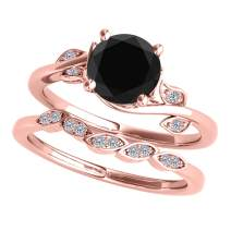 1.15 Ct. Black And White Diamond Bridal Ring Set For Women Crafted in 14K Solid Rose White & Yellow Gold - Wedding Ring and Band - Jewelry Collection