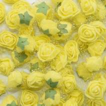 YONGSNOW Mini PE Foam Rose Flower Head 200pcs 2cm Artificial Rose Heads for DIY Scrapbooking Wreath Wedding Party Home Decoration (Yellow)