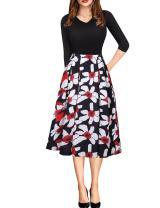 Exlura Women's Vintage Patchwork 3/4 Sleeve Dress Wear to Work Office Party Dress