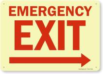 """Emergency Exit"" Sign with Right Arrow by SmartSign 