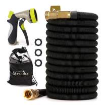 lifecolor Expanding Garden Hose, 100ft Expandable Water Hose with Double Latex Core, Solid Brass Connector and Extra Strength Fabric Flexible Spray Hose with 8 Function Nozzle