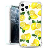 Ruky iPhone 11 Pro Max Clear Floral Flower Case with Glitter Design Women Girls Ultra-Thin Soft TPU Shockproof Protective Cover for iPhone 11 Pro Max 2019 (Lemon)