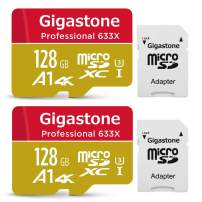 Gigastone 128GB 2-Pack Micro SD Card, Professional 4K Ultra HD, High Speed 4K UHD Gaming, Micro SDXC UHS-I U3 C10 Class 10 100MB/s Memory Card with Adapter, 5-Year Warranty