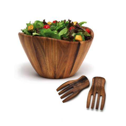 Lipper International 1174 3 Acacia Wave Bowl With Salad Hands