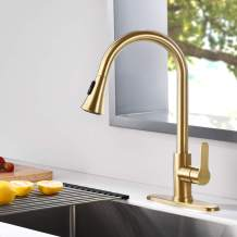 AMAZING FORCE Gold Kitchen Faucet Modern Pull Out Kitchen Faucets Stainless Steel Single Handle Kitchen Sink Faucet With Pull Down Sprayer 3 Hole Kitchen Faucet Mixer Tap