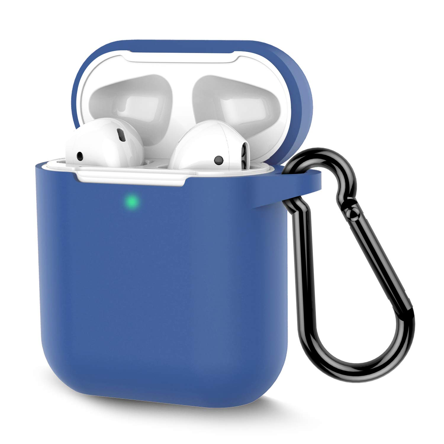 Coffea AirPods Case, Protective Silicone Cover Skin with Keychain for AirPods 2 Wireless Charging Case [Front LED Visible] (RoyalBlue)