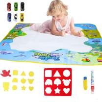HANMUN Aqua Magic Mat Magic Doodle Mat Large Educational Water Drawing Mat for Kids Toy Toddler Painting Board with 2 Magic Pens, 1 Magic Brush, and Drawing Accessories for Boys Girls …