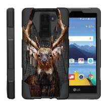 TurtleArmor   Compatible with LG K8V Case   LG K8 V Case   VS500 [Dynamic Shell] Hybrid Duo Cover Impact Absorbent Shock Silicone Layer Kickstand Hard Shell Animal - Painted Elk