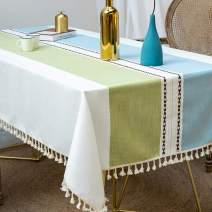 Deep Dream Tablecloths, Stitching Tassel Table Cloth Cotton Linen Wrinkle Free Anti-Fading Table Cover Decoration for Kitchen Dinning Party, 55 x 102 Inch - Blue & Green