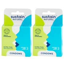 Sustain Natural Latex Condoms - Ultra Thin - FDA Cleared - Nitrosamine Free - Non GMO - Fair Trade - 6 Count