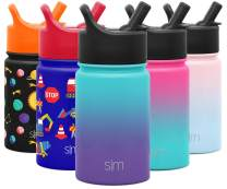 Simple Modern 10oz Summit Kids Water Bottle Thermos with Straw Lid - Dishwasher Safe Vacuum Insulated Double Wall Tumbler Travel Cup 18/8 Stainless Steel - Ombre: Tropical Seas