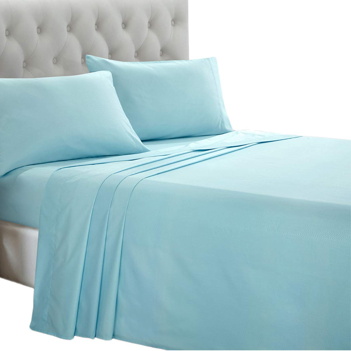 HollyHOME Embossed Sheets, 3 Piece Hotel Collection Soft Brushed Microfiber Bed Sheet Set, Twin, Teal