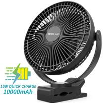 OPOLAR 10000mAh Battery Operated Clip on Fan, 8 Inch Rechargeable Personal Fan, 4 Speeds, USB Desk Fan, Whisper Quiet, Sturdy Clamp Portable for Golf Cart Treadmill Camping Hiking Home Office