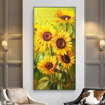 Maysurban DIY Diamond Painting Kits Full Drill 5D Diamond Painting Kits for Adults Art Craft Rhinestone Embroidery for Home Household Decor 11.8 x 15.7 inch Blooming Sunflower