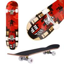 """Aceshin Skateboard, 31"""" x 8"""" Complete PRO Skateboard, 9 Layer Canadian Maple Wood Double Kick Tricks Skate Board Concave Design for Beginner,Gift for Kids Boys Girls Youths"""