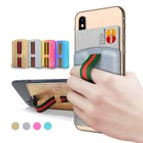 GOBUKEE [Pocketin] Phone Grip and Slim Wallet with Expanding Stand/Phone Wallet Stick on/Phone Wallet Sticker (Glitter Silver)
