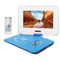 """Smyidel 9.8"""" Portable DVD Player Supports SD Card/USB Port/CD/DVD, Rede Controller,2 Hour Rechargeable Battery, 9"""" Eye-Protective Screen, Support AV-in/Out,Region Free (Blue)"""