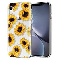 LYWHL iPhone XR Case Cute AIKIN Simply Designed Flower Pattern Case Ultra Thin Soft TPU Flexible Shockproof Cute Protective Case Floral for iPhone XR 6.1 inch (Sunflower/Clear)
