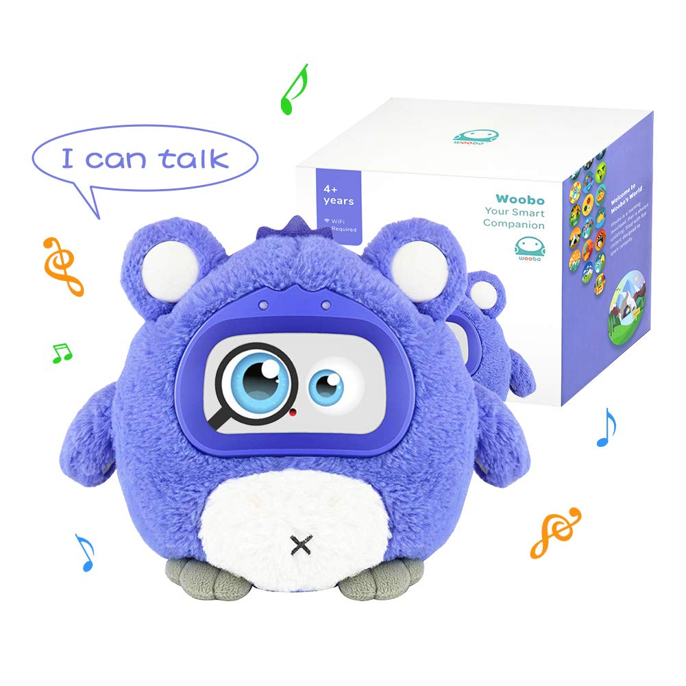 WOOBO Plush Interactive Robot Toy for Curious Kids - Stuffed Talking Toys with Songs, Stories, Games, Voice Interaction, Alarm Clock, App and Touch Control, Best Gift for Boys Girls …