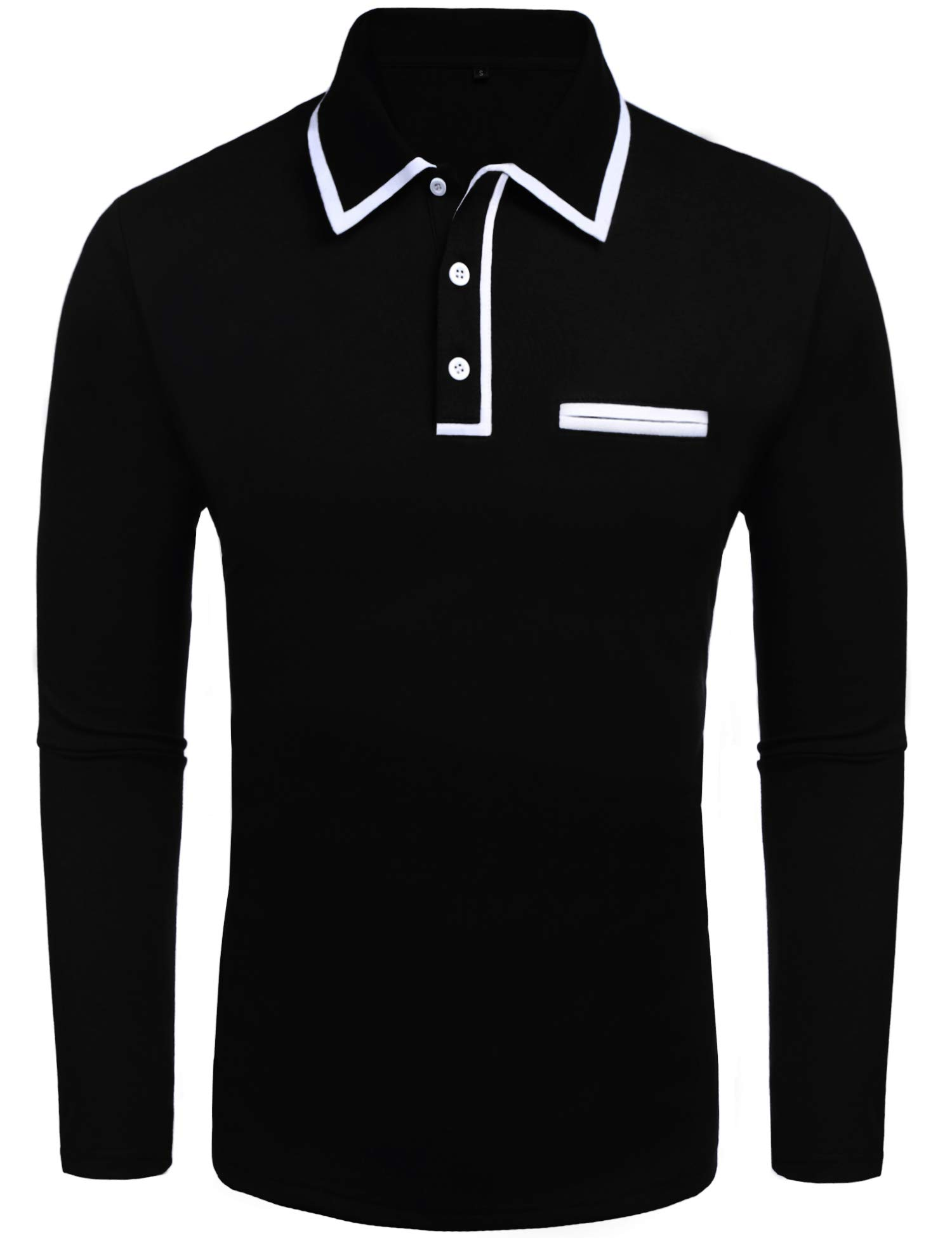 Daupanzees Men's Classic Casual Long Sleeve White Elastic Ribbed Collar Jersey Polo Shirt