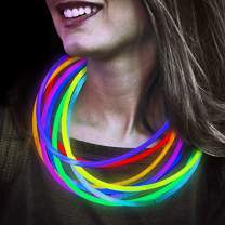 Lumistick 22 Inch Glow Stick Necklaces | Non-Toxic & Kids Safe Light Up Neckwear | Bendable Sticks with Connectors | Glows in The Dark Night Party Favor (Color Assortment, 200 Necklaces)