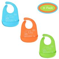 Baby Bib Set, INCHANT Waterproof Soft Silicone Feeding Bib with Food Catcher Pocket for Bibes & Toddlers, Easily Wipes Clean, BPA Free, Soft & Adjustable, Set of 3 Colors