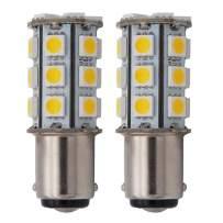 GRV Ba15d 1142 High Power Car LED Bulb 24-5050SMD AC/DC 12V-24V RV Boat Trailer Light Warm White Pack of 2