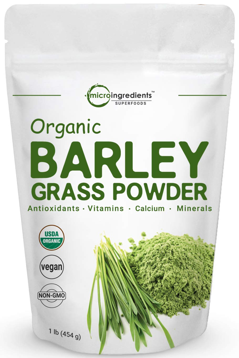 Sustainably US Grown, Organic Barley Grass Powder, 1 Pound, Rich Fibers, Immune Vitamins, Minerals, Antioxidants and Protein, Support Immune System and Digestion Function, Vegan Friendly.