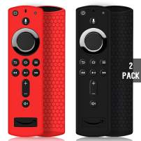 2 Pack Remote Case/Cover for Fire TV Stick 4K,Protective Silicone Holder Lightweight Anti Slip Shockproof for Fire TV Cube/3rd Gen Compatible with All-New 2nd Gen Alexa Voice Remote Control-Black,Red