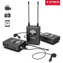 SYNCO Wireless Lavalier Microphone System for Cameras, Full Metal 96-Channel Digital UHF Lapel Microphone for Smartphone, DSLR, Camcorder, WMic-T2 RX9 + TX9 + TX9