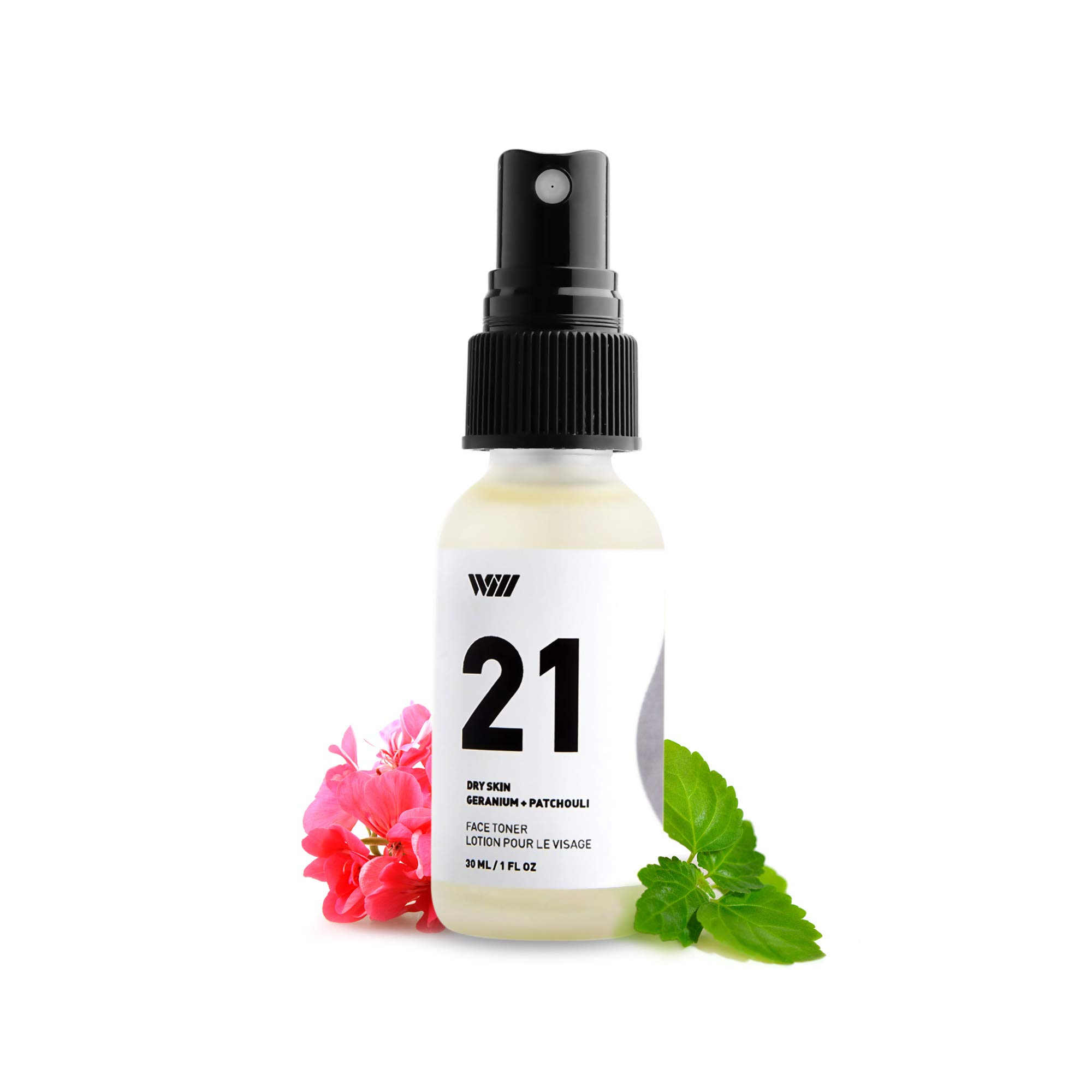 21 Dry Skin Face Toner, Natural Face Toner for Acne and Hydration, Vitamin C Pore Reducing Toner, Paraben Free (Geranium and Patchouli) - Way of Wil