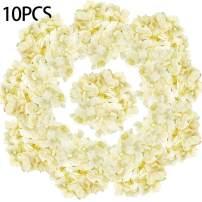 LKBOX Artificial Hydrangea Silk Flowers Face Yellow 10pcs Bush Flowers Head Bulk with Arrangements Wedding Centerpieces Bouquets DIY Floral Decor Home Decoration with Long Stems