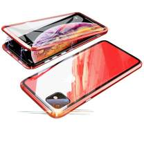 Compatible with iPhone 11 (6.1 inch) Case, Jonwelsy 360 Degree Front and Back Transparent Tempered Glass Cover, Strong Magnetic Adsorption Technology Metal Bumper for iPhone 11 (Red)
