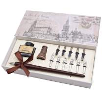 AIVN Natural Handcrafted Calligraphy Pen Set - Writing Case with Black Ink