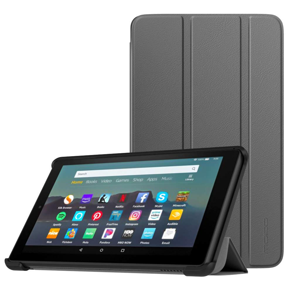 MoKo Case Fits All-New Amazon Kindle Fire 7 Tablet (9th Generation, 2019 Release), Lightweight Slim Shell Shockproof Back Stand Cover with Auto Wake/Sleep - Space Gray