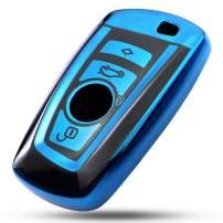 VANZAVANZU for BMW Key Fob Cover, Soft TPU Smart Key Fob Case Holder Sleeve Car Key Chain for BMW 1 3 4 5 6 7 Series BMW X3 X4 M2 M3 M4 M5 M6 (Blue Cover)