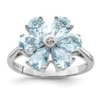 925 Sterling Silver Aqua Diamond Flower Band Ring Flowers/leaf Gemstone Fine Jewelry For Women Gift Set