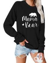 LAMISSCHE Womens Mama Bear Long Sleeve Sweatshirt Graphic Print Crewneck Shirt Casual Loose Solid Cute Pullover Tops