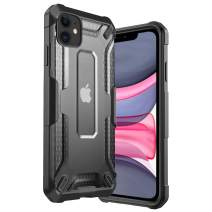 iPhone 11 Case Clear Hard PC Cover Heavy Duty Military Grade Shockproof Drop Protection Phone Case Compatible for iPhone 11, 6.1 Inch 2019 - Black