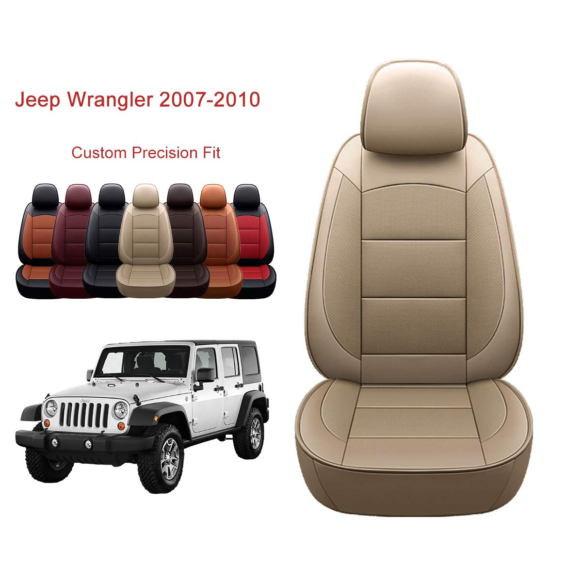 OASIS AUTO Jeep Wrangler JK 2007 2008 2009 2010 Unlimited, Sahara, Sport, X, Custom Exact Fit PU Leather Seat Covers Accessories Full Set (4DR, TAN)