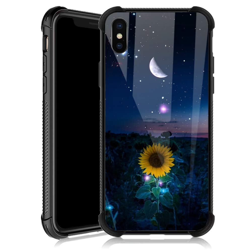 iPhone XR Case,Sunflower Moon Star Sky iPhone XR Cases for Girls,Tempered Glass Back Cover Anti Scratch Reinforced Corners Soft TPU Bumper Shockproof Case for iPhone XR Night Crescent