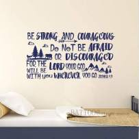 """BATTOO Be Brave Strong and Courageous- Joshua 1:9 Bible Scripture Wall Decal Quotes for Boys Room Boys Nursery Baby Room Vinyl Letters Inspirational Wall Decor(Davy Blue, 34"""" WX18 H)"""